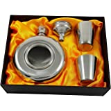 5 oz Round Flask with Window - Gift Set with Two Shot Glasses and Funnel
