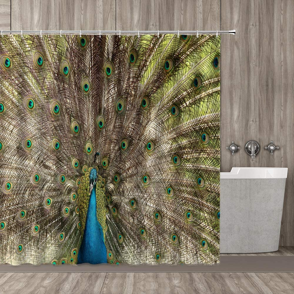 "qianliansheji Peacock Shower Curtain, Portrait of Peacock with Feathers Out Vibrant Colors Birds Summer Garden, Cloth Fabric Bathroom Decor Set with Hooks, 70"" Long, Navy Green"
