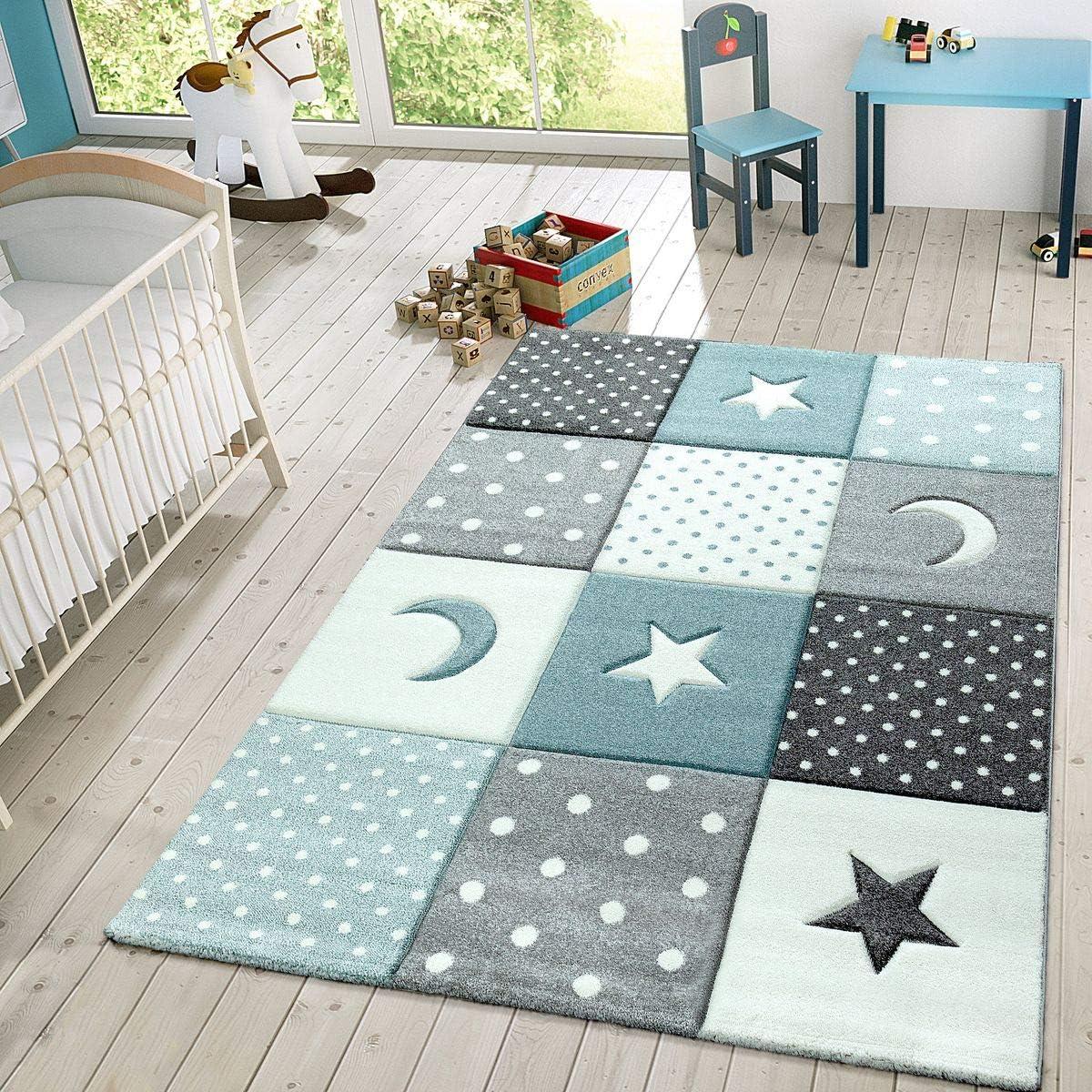 TT Home Alfombra Infantil Juego Cuadros Estrellas Luna Pastel Turquesa Blanco Gris, Größe:120x170 cm