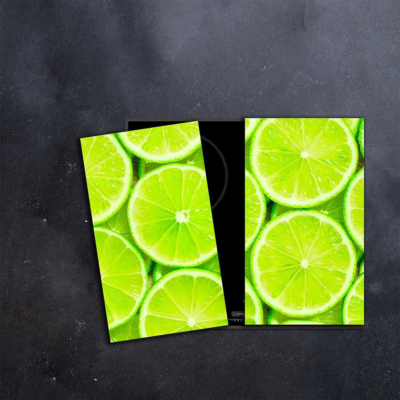 Herdabdeckplatten Set 2x30x52 cm Ceranfeld Abdeckung Glas Spritzschutz Abdeckplatte Glasplatte Herd Ceranfeldabdeckung Gr/ün Zitrone CTC-Trade