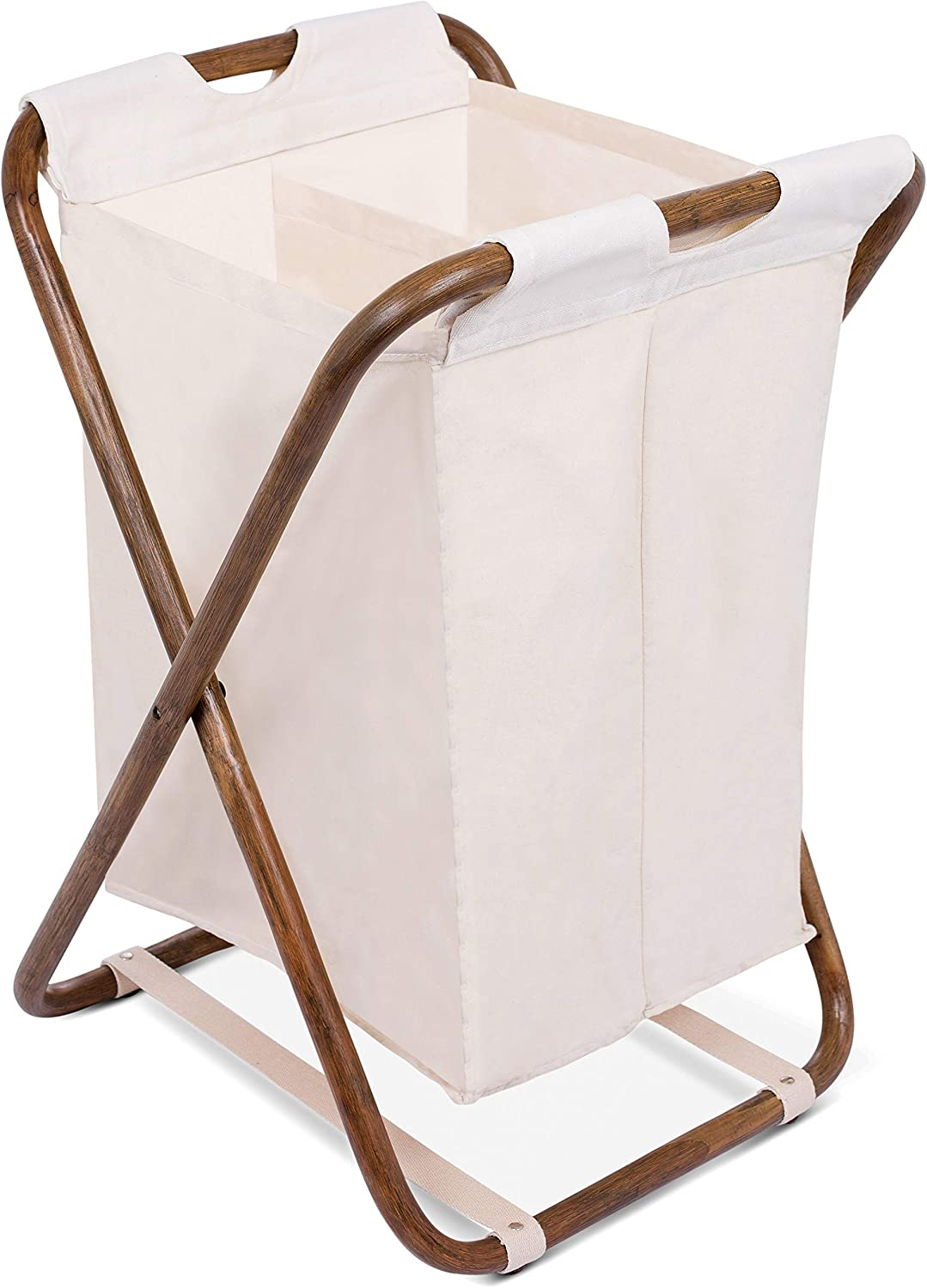 BIRDROCK HOME Double Rattan Laundry Hamper - Machine Washable Canvas Lining - Lightweight and Foldable - Divided Removable Bag - Organizer
