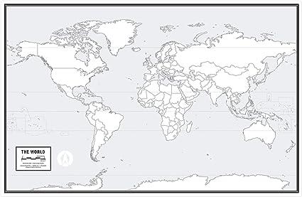 Cartina Mondo Vuota.Poster Con Mappa Del Mondo Vuota Laminato 91 4 X 61 Cm Ideale Per Scuola O Studio Di Casa Pennarello Cancellabile A Secco Incluso Lingua Italiana Non Garantita Amazon It Cancelleria E Prodotti Per