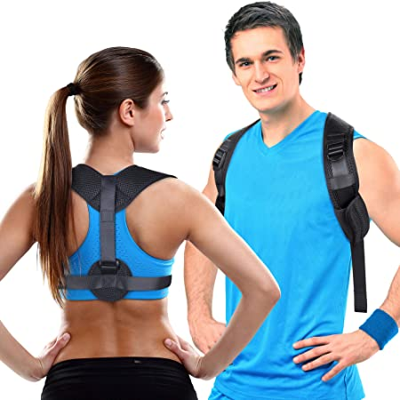 back and side facing aroamas clavicle support adjustable brace