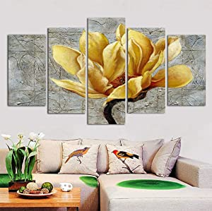 """DXYJUYI Large Yellow and Grey Flower Wall Art Abstract Print on Canvas Home Decor Pictures 5 Panels Poster for Bedroom Living Room Printed Painting Framed Ready to Hang (60"""" W x 32"""" H)"""