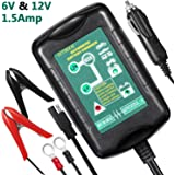 Automatic Battery Charger, InThoor 6V/12V 1.5Amp Trickle Charger Maintainer with Car Adapter for Vehicle/Motorcycle/Lawn Mower/ATV/RV and More