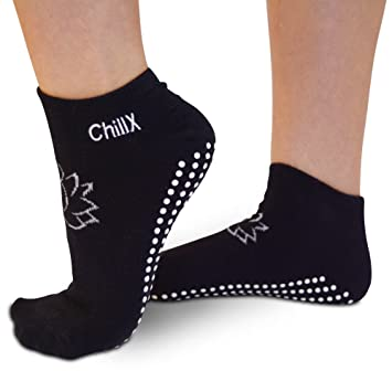 chillx antideslizante Yoga Pilates calcetines barre elástica – 2 pares de gimnasia para mujer, con