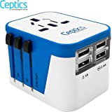 Ceptics World Travel Adapter Power Plug W/ 4 USB Ports - Charge Cell Phones, Smart Watches, iPhones All over the World - For International Europe, China, US, UK, Canada, Australia - Type A, C, G, I