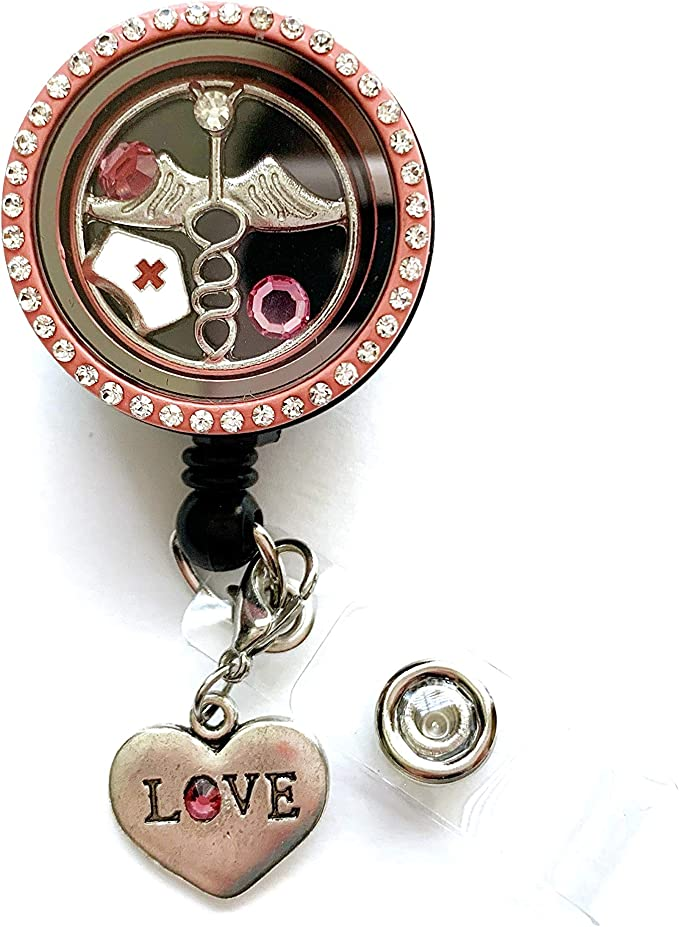 ID Holder with Rope Chain Lanyard and 5 Snap Charms Jewelry Set Real Charming Snap Charm Premium Decorative Badge Holder LH Heart
