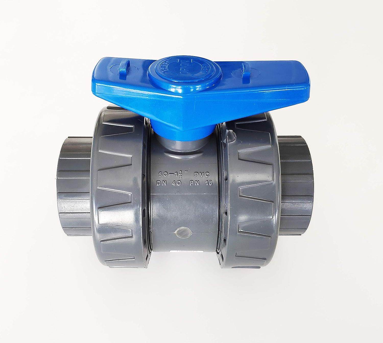 Válvula modelo 2020 Interplast 50 mm para pegar doble unión desmontable 5 cm / 50 mm PN16 PVC PRESION Piscina