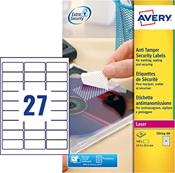 Amazon.com: Avery L6114 – 20 – Etiquetas de seguridad (A4 ...
