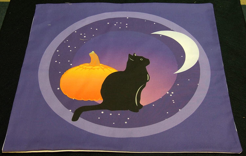 Altar Cloth or Tarot Cloth Black Cat and the Moon
