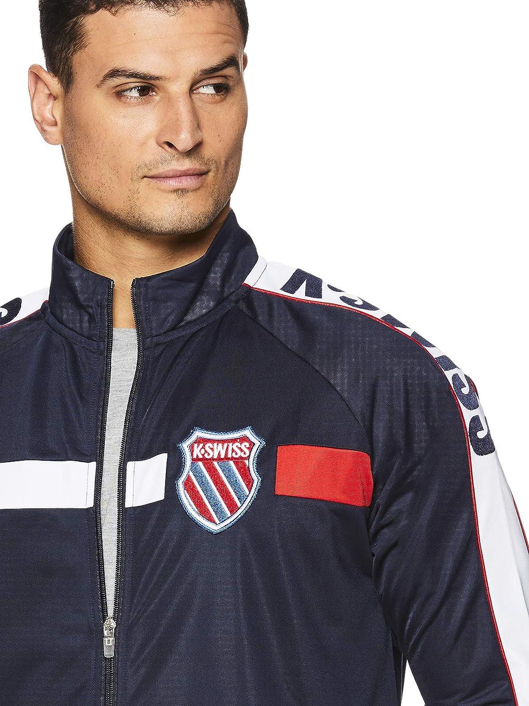 K-Swiss Mens Full Zip Up Track Jacket Long Sleeve Running /& Warmup Top