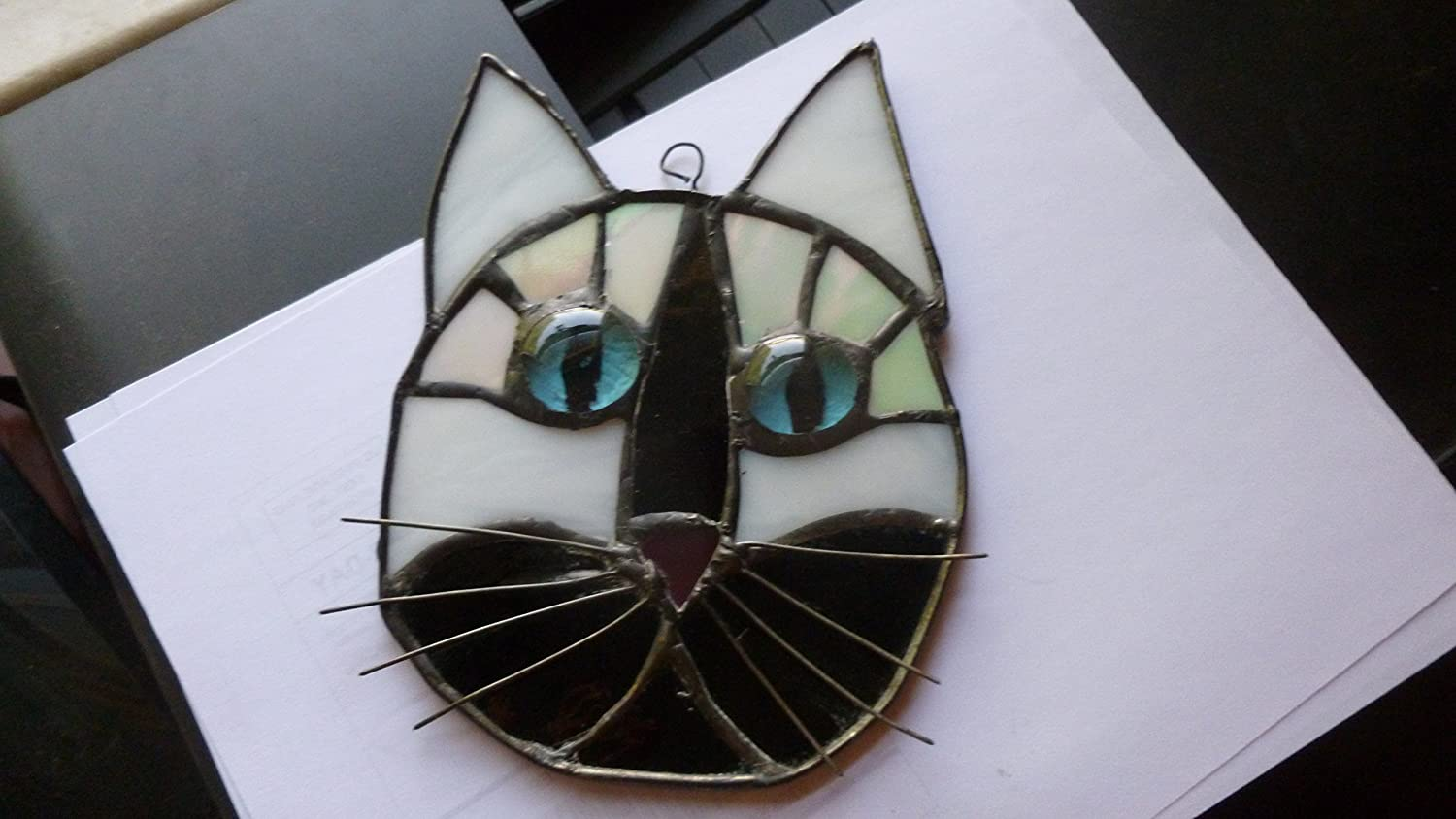 Cat Face Stained Glass in Beautiful tuxedo black and white with blue eyes