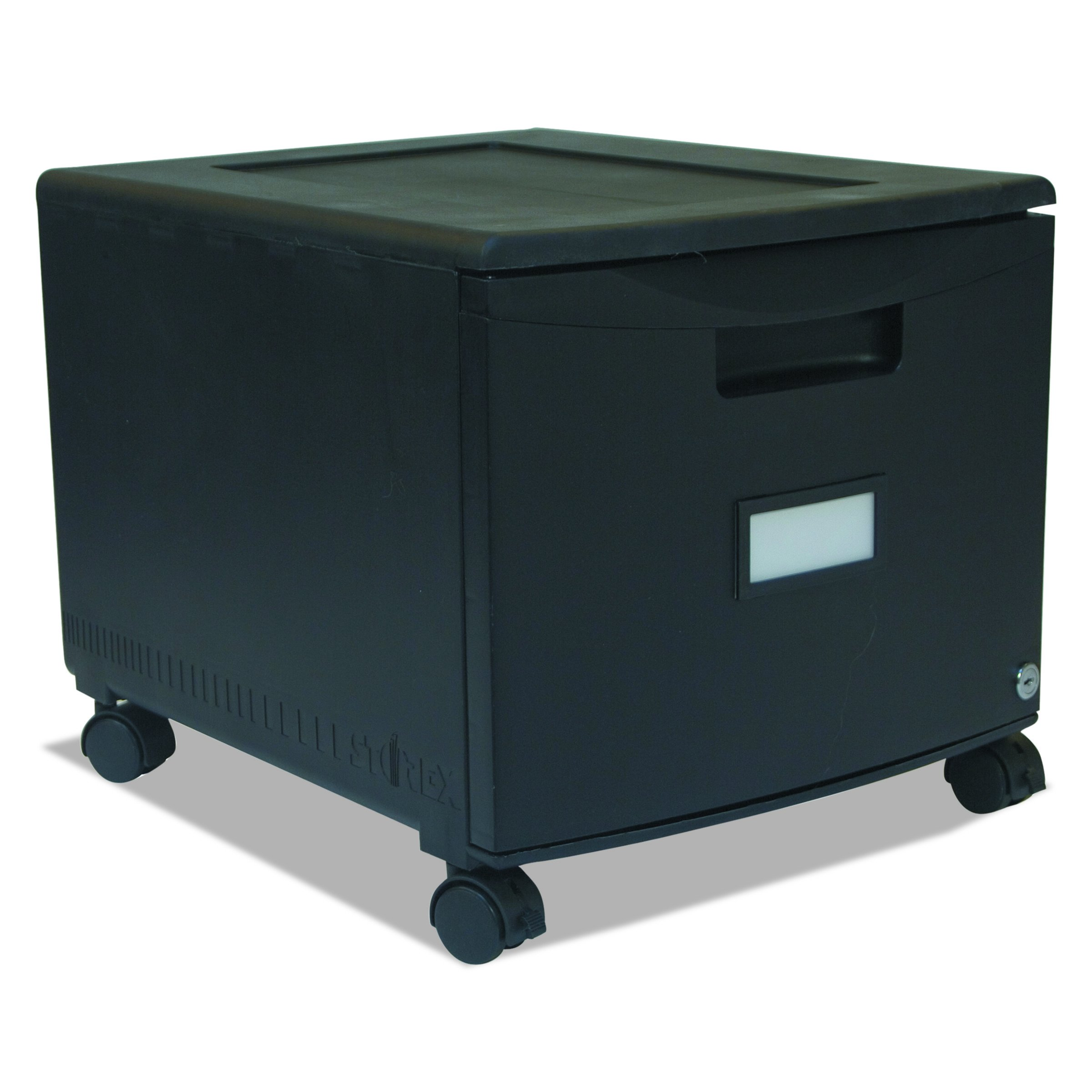 Storex Single Drawer Mini File Cabinet with Lock and Casters, Legal/Letter Size 18.25 x 14.75 x 12.75 Inches, Black (STX61259B01C)