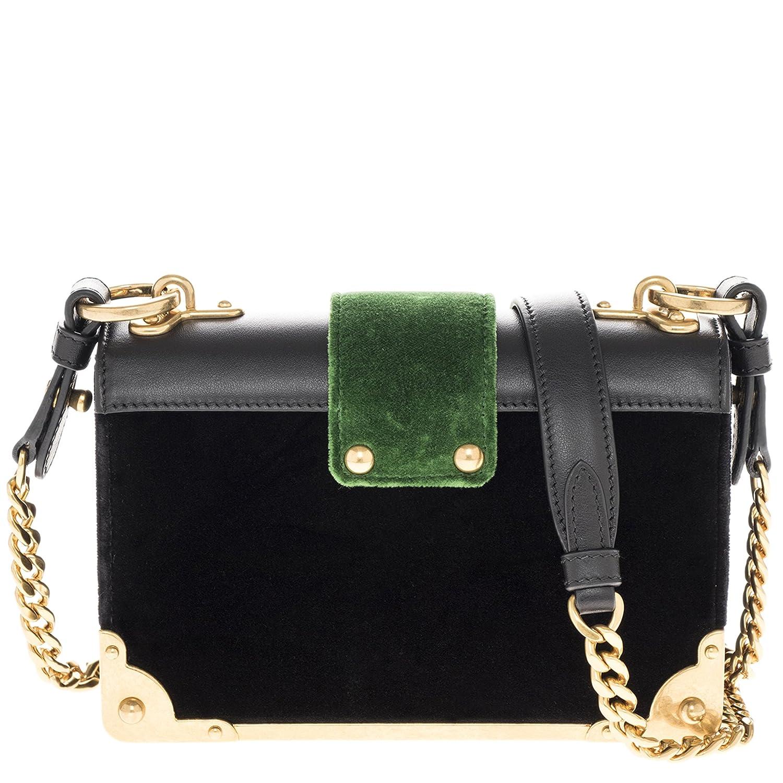 1abae43181b1f2 Prada Women's Cahier Velvet and Leather Handbag Black: Amazon.ca: Shoes &  Handbags