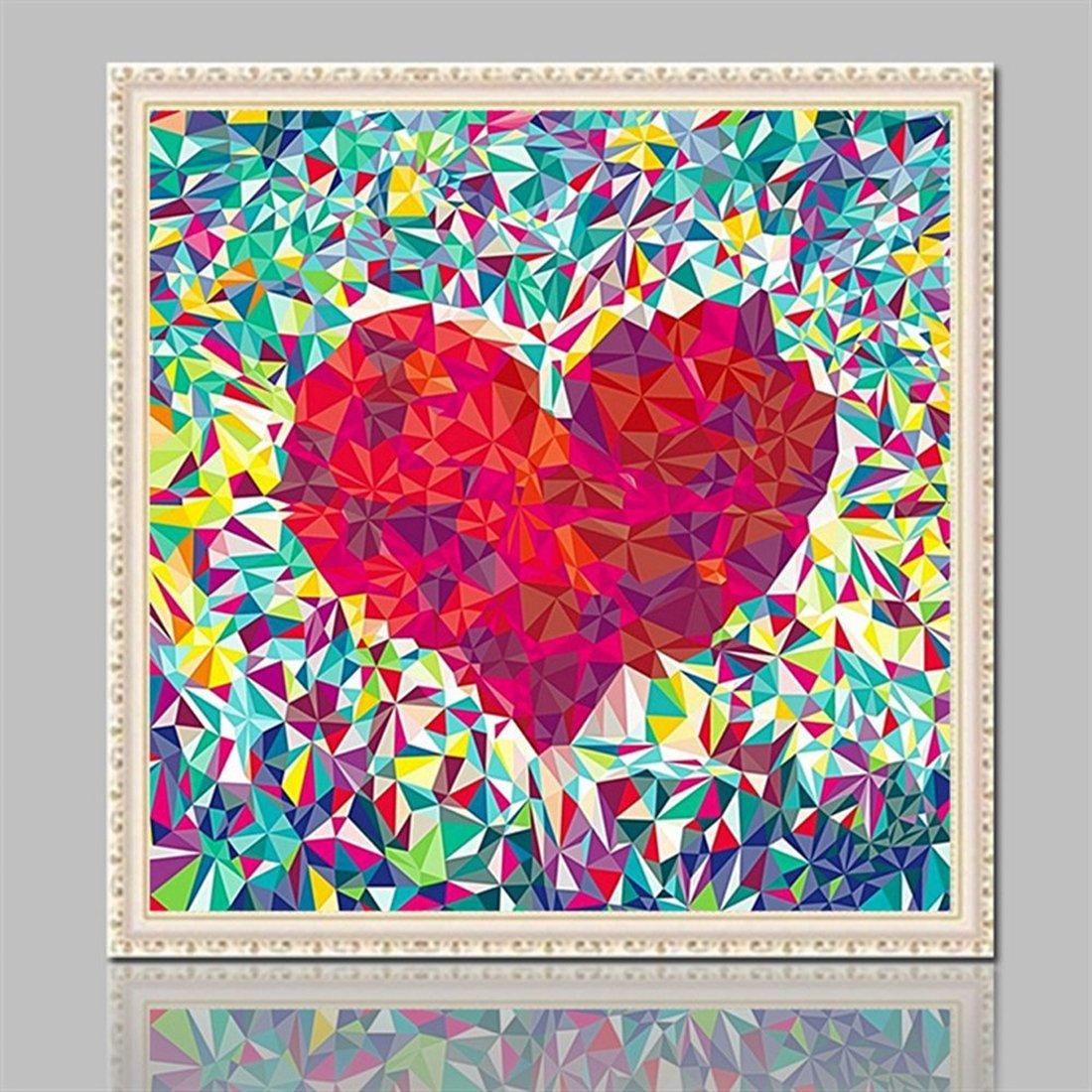 Kit per diamond painting 5D di un punto cuore rosso geometrico da 30 x 30 cm con perline tonde sfaccettate per disegnare con i numeri immagine artistica fai da te per decorare le pareti di casa