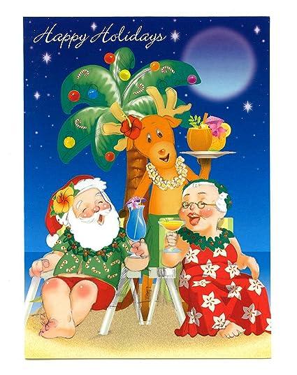 holiday happy hour hawaiian christmas cards box of 12 - Hawaiian Christmas Cards