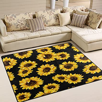 ALAZA Shabby Chic Floral Sunflower Area Rug Rugs For Living Room Bedroom