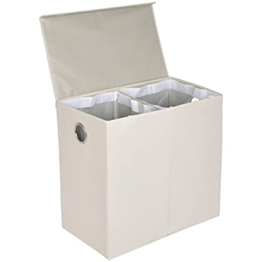 AmazonBasics Collapsible Laundry Hamper Basket Dual Sorter with Magnetic Lid - Beige