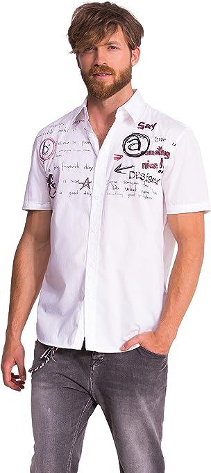 Desigual CAM_Julio - Camisa Casual de Manga Corta para Hombre, Color Blanco 1000, Talla Large: Amazon.es: Ropa y accesorios
