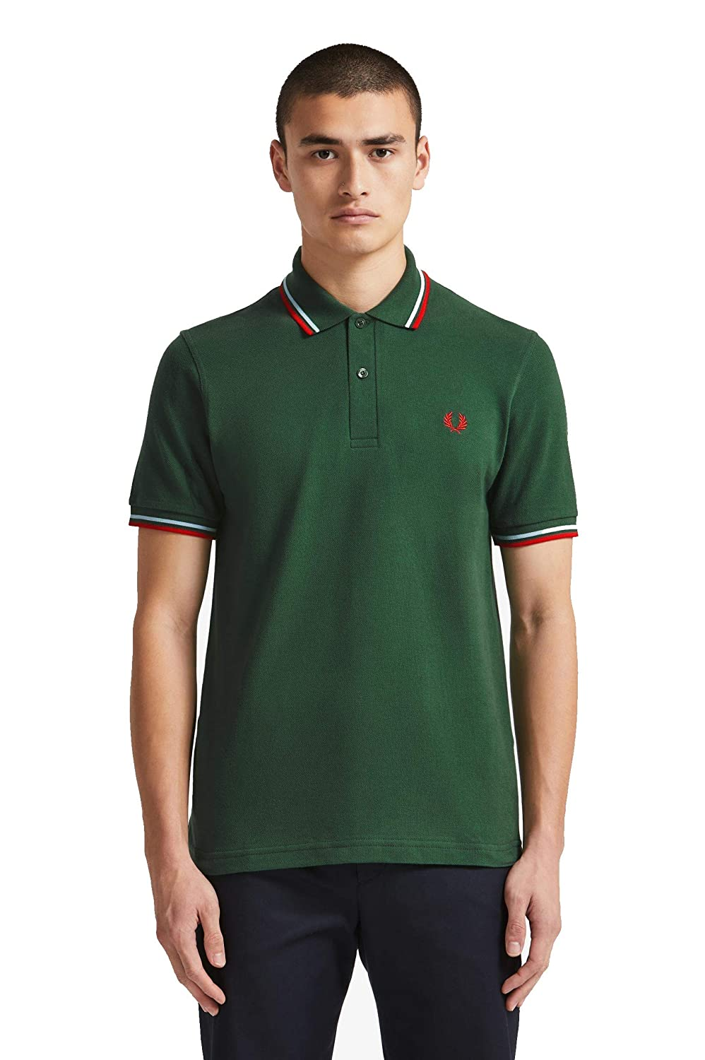 Fred Perry Reissues Original Plain Polo Green & Red-38: Amazon.es ...