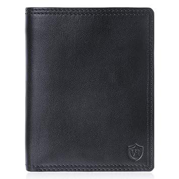 2dd3a686f346e VON HEESEN Geldbeutel Männer mit RFID-Schutz Geldbörse Herren Leder Schwarz  Portemonnaie Portmonaise Brieftasche Herrengeldbeutel