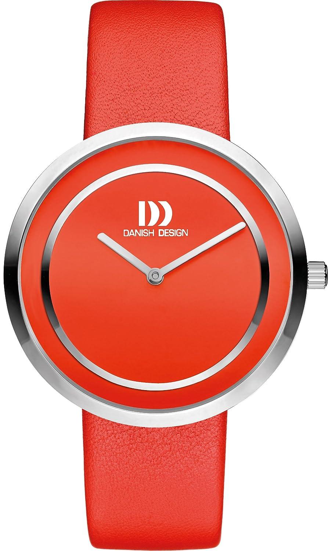 Danish Design Damen-Armbanduhr Analog Leder Rot DZ120318