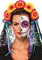 Leg Avenue Women's Day Of The Dead Flower Headband with Lace Veil