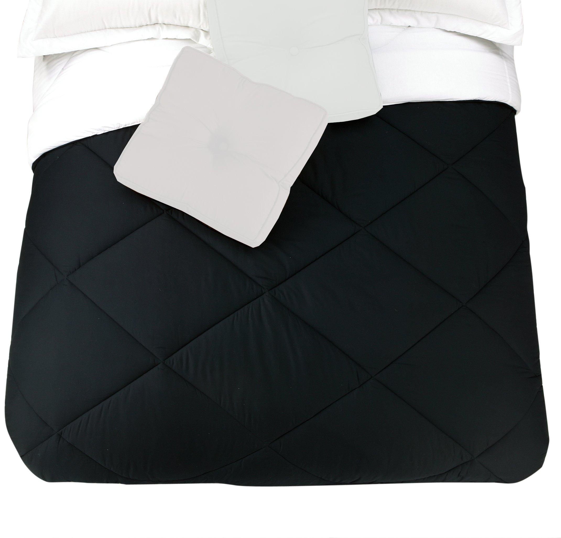Presidio Square Collection Reversible Cotton Comforter, Queen, Black/White