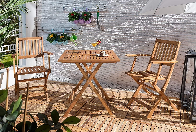 Acacia Ideale per Giardino e Balcone 62 x 62 cm Marrone Balkontisch 62x62 Camelia SAM Tavolo in Legno Pieghevole