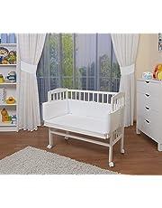 WALDIN Cuna colecho para bebé, cuna para bebé, con protector y colchón, natural sin tratamientos o lacado en blanco
