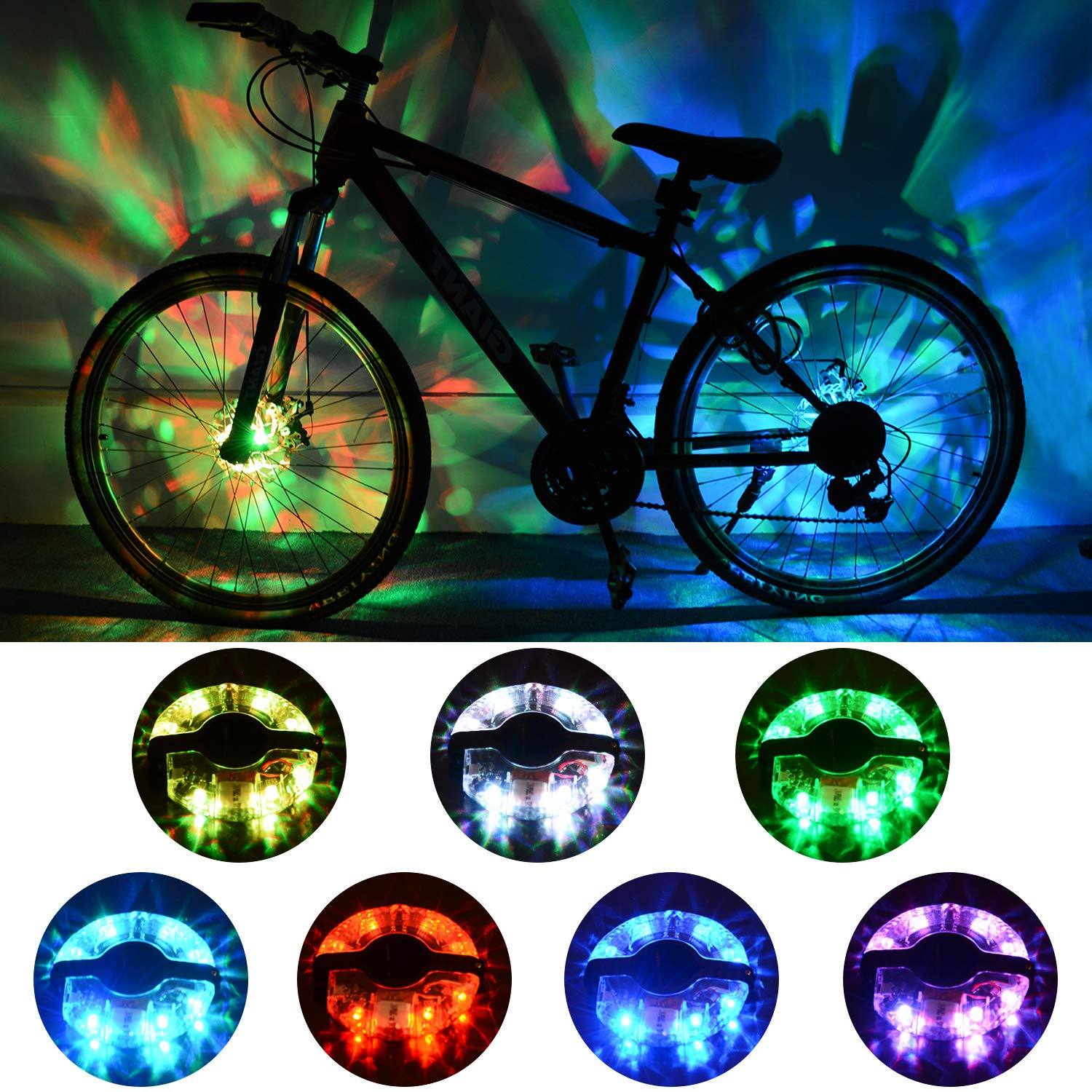 ShinePick Rechargeable Bike Wheel Lights, Waterproof Rim Lights Colorful Safety Warning Light Bike Spoke Decoration, 2 Tire Pack for Both Adults Kids Bike