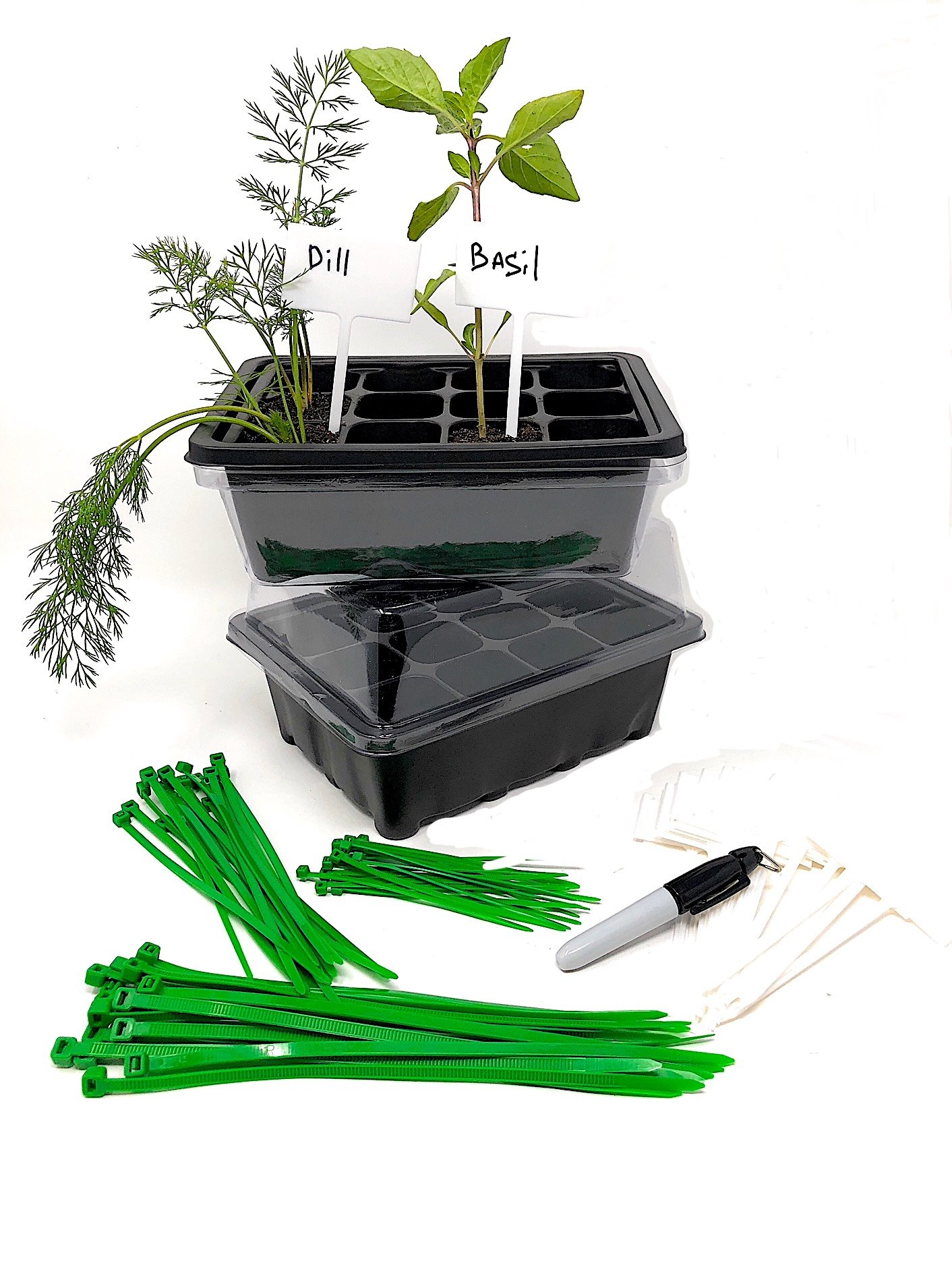 Set of Tray Pots Seed Greenhouse Grow Kits (24 Cells) + 50 Plant Cable Ties + 20 Plant Labels With Marker (Bundle of 5 Items)