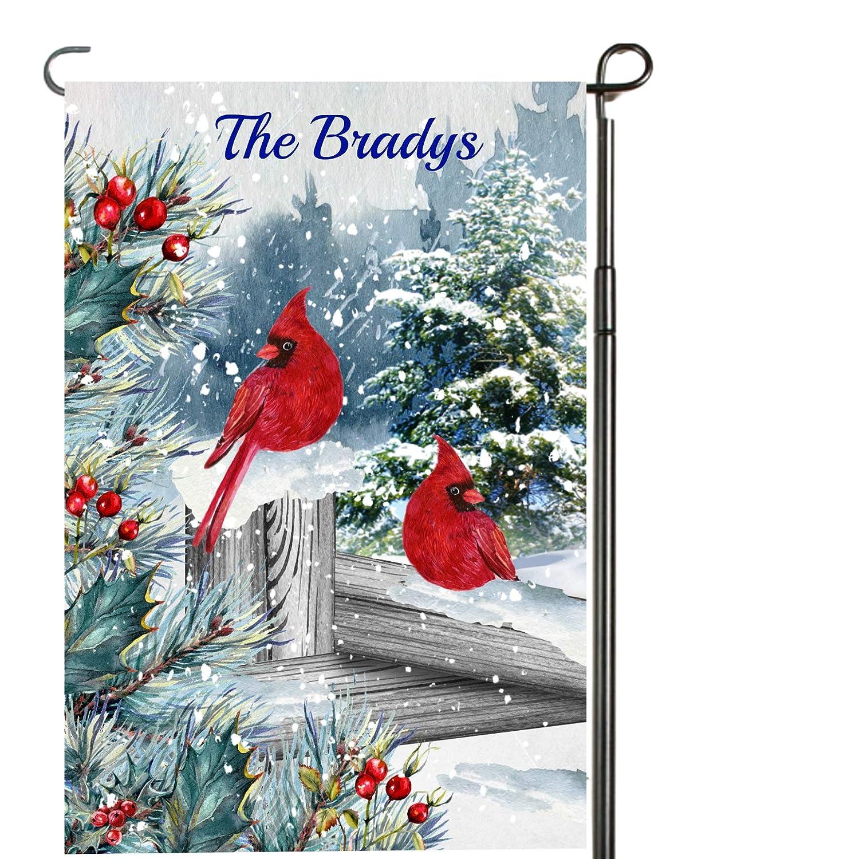 Yard Details about  /Cardinal Christmas Wreath Garden Flag Personalized Garden Flag Cardinals