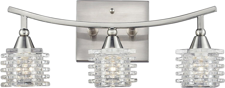 Elk Lighting 17131 3 Matrix Three Light Bath Bar, Satin Nickel