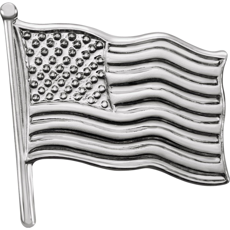 Bonyak Jewelry 14k White Gold 14.5x14 mm American Flag Lapel Pin