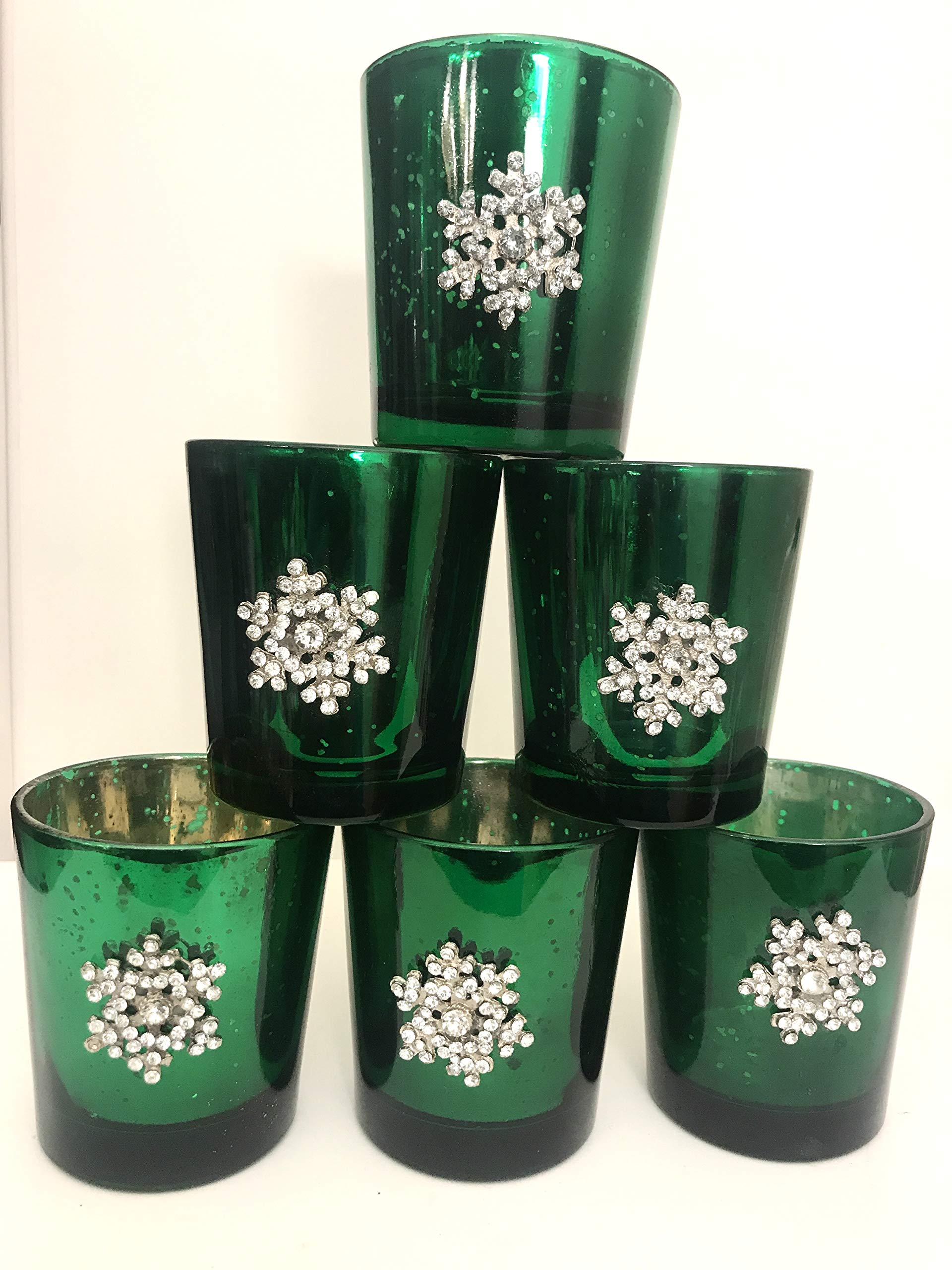 Candleholders Christmas Centerpiece Green Mercury Glass Mottled Snowflake Crystal Candleholders, Set of 6, 3 x 2 inches