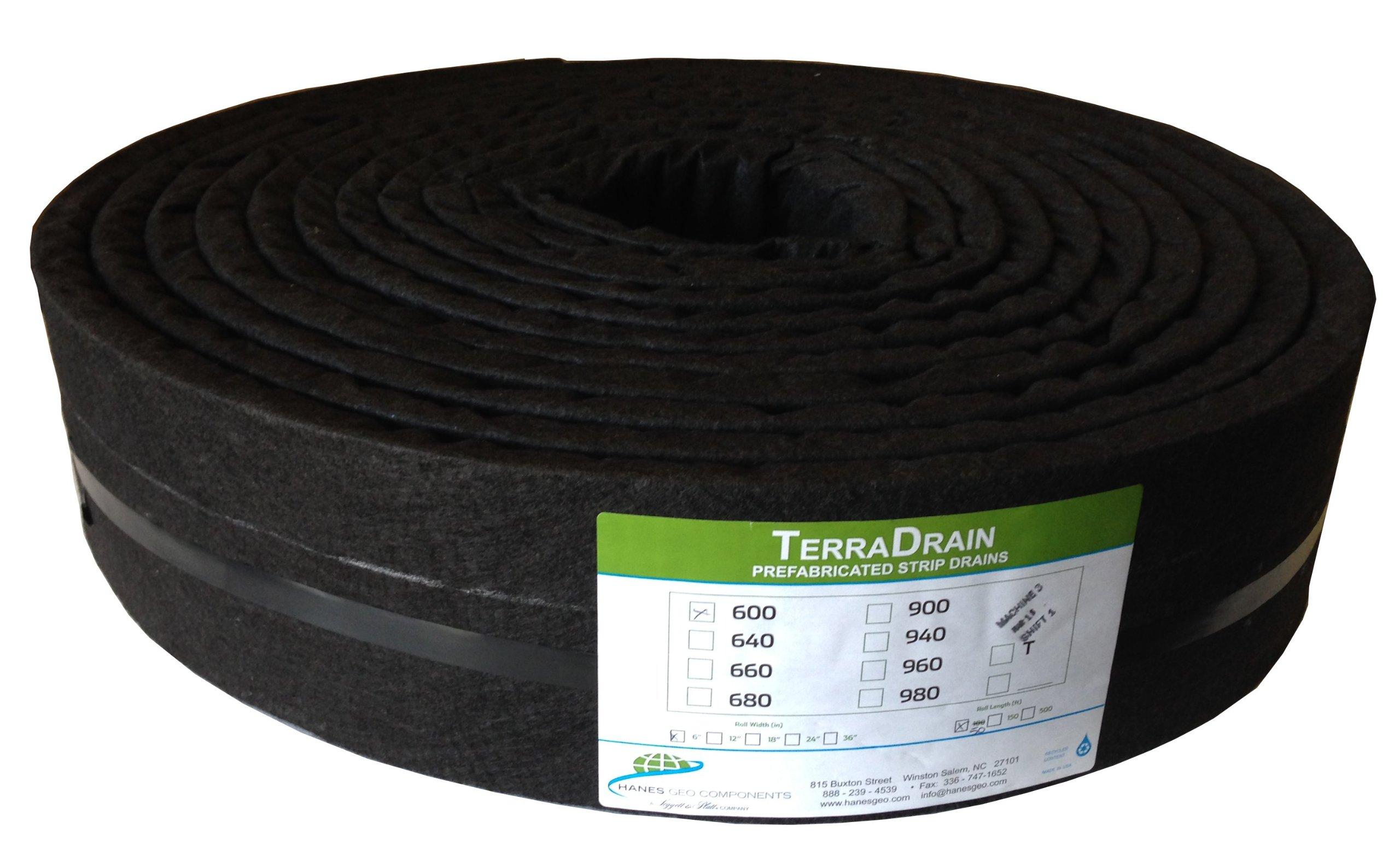 Hanes Geo Components 32431 TerraDrain Strip Drain, 6-Inch by 50-Feet