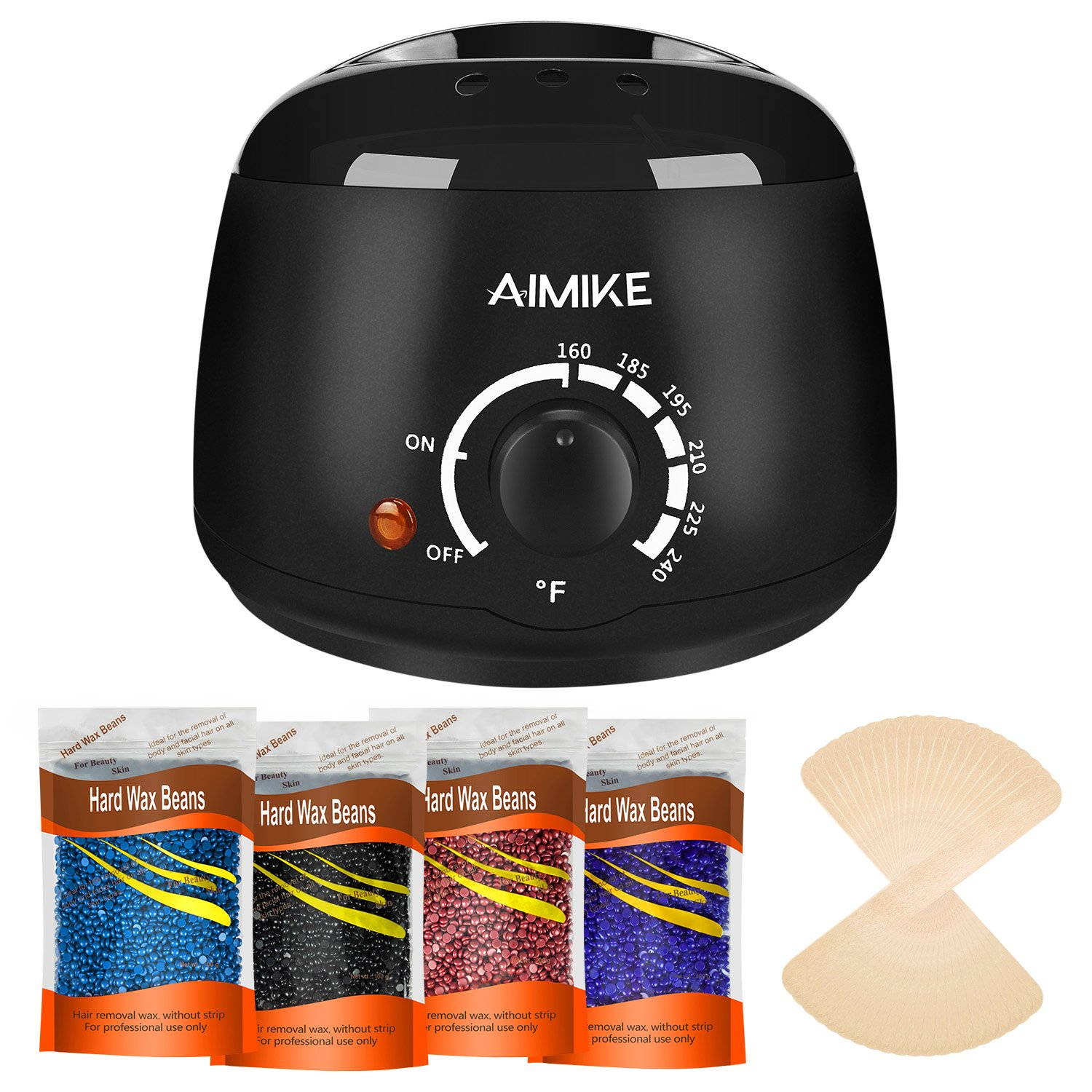 Wax Warmer, Hair Removal Waxing Kit, Upgraded Wax Heater with 4 Colors Hard Wax Beans + 20 Wax Applicator Sticks by Aimike