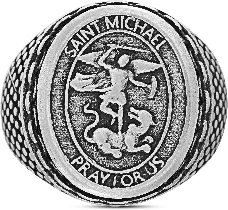 Steve Madden Oxidized Stainless Steel Saint Michael Medallion with Chain Design Border Ring For Men (Various Sizes)