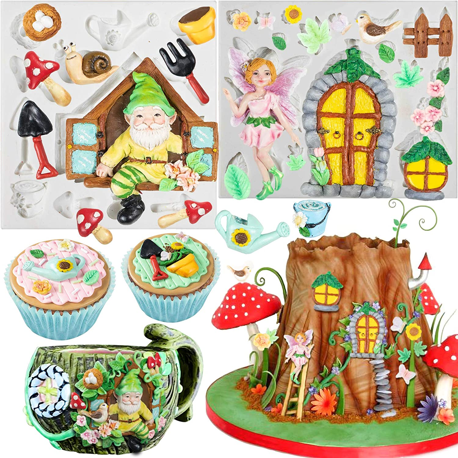 FUNSHOWCASE Fairy Garden Fondant Silicone Molds Elf Gnome Home Out The Door and Window for Sugarcraft Cake Decorating Cupcake Topper Chocolate Epoxy Resin Polymer Clay 27-Cavity 0.3-3.3inch