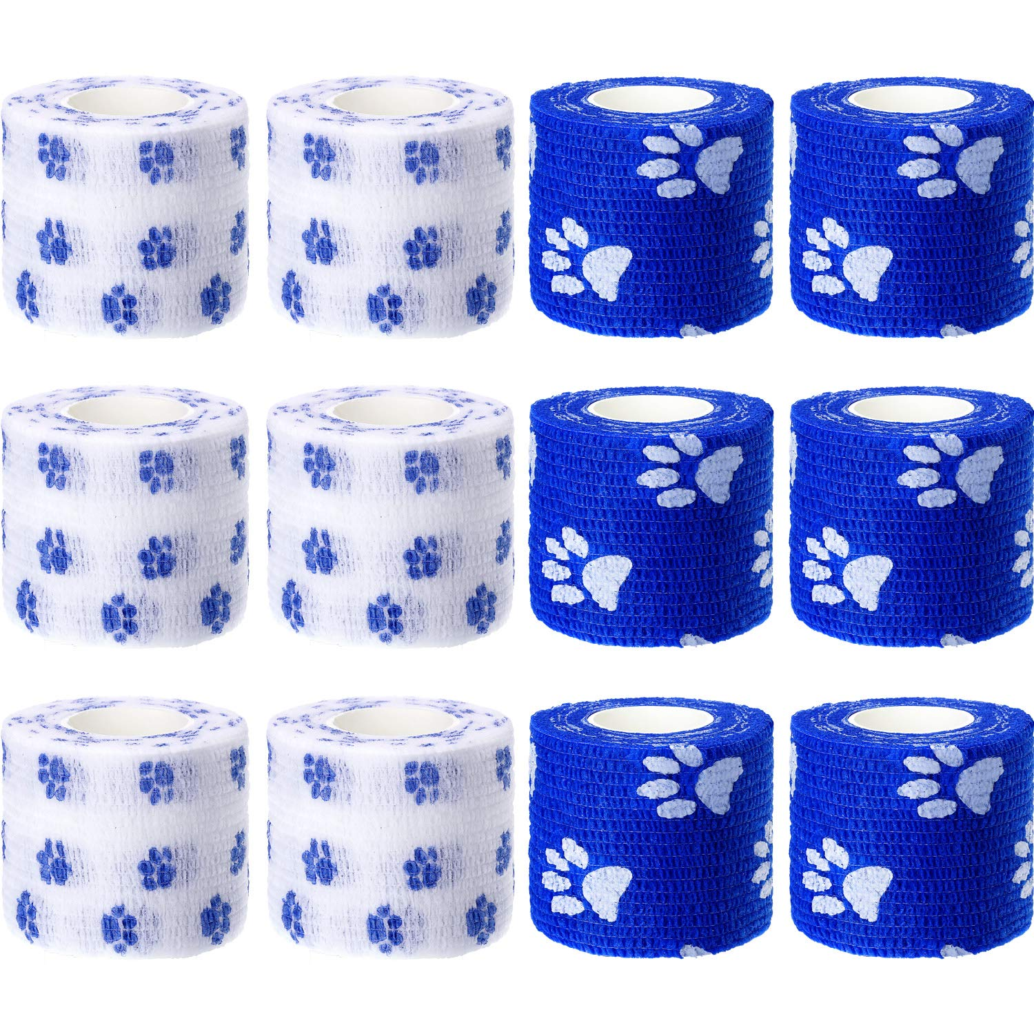 Pangda 12 Pieces Adhesive Bandage Wrap Stretch Self-Adherent Tape for Sports, Wrist, Ankle, 5 Yards Each (2 Inches, Blue and White)