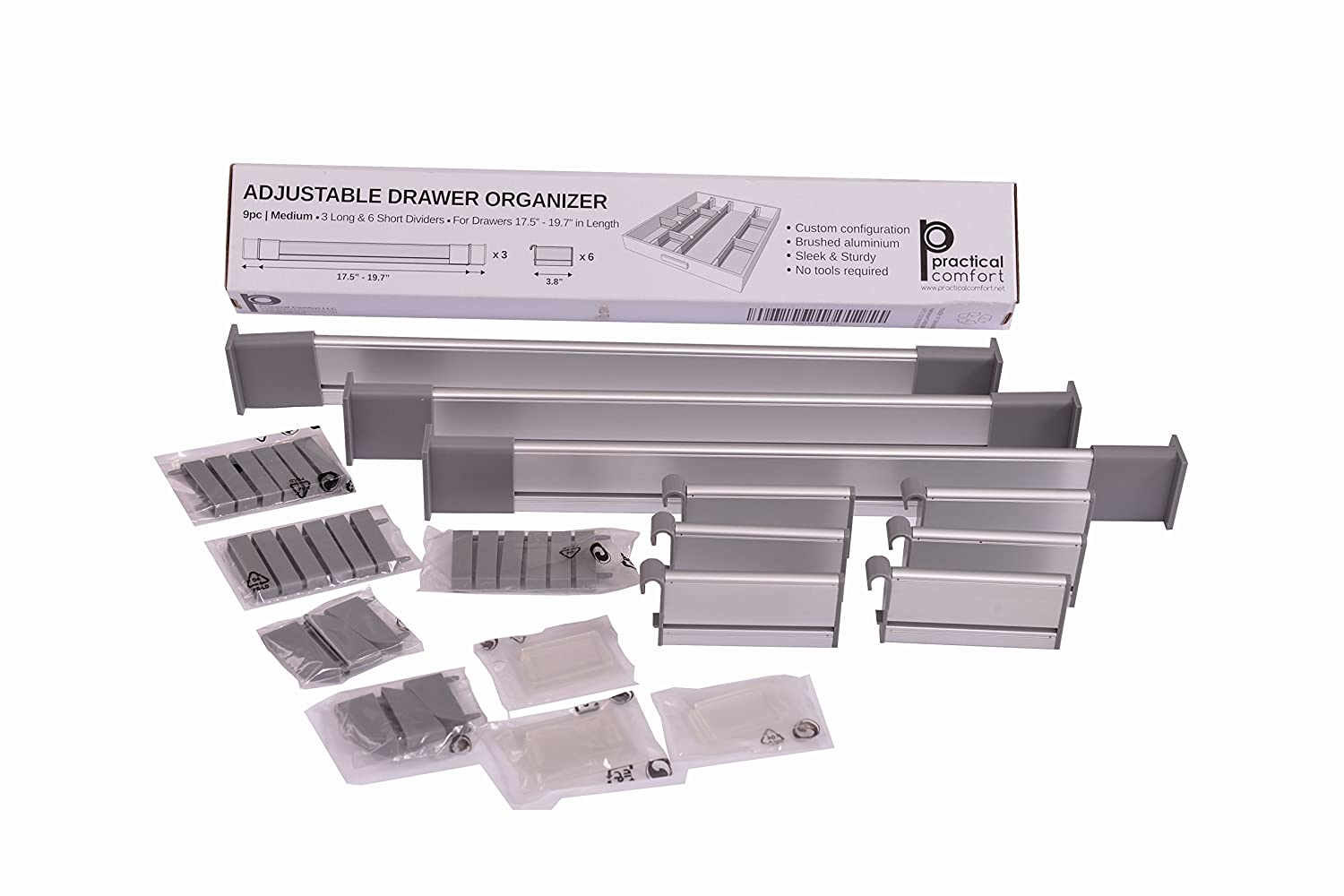 Amazon.com: Adjustable Drawer Organizer, Customizable, Elegant Aluminum,  For Clutter Free Kitchen, Junk Drawer, Office, Clinic (9 Dividers Set    Medium ...