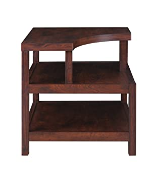 IoHOMES Torsae 3 Shelf End Table, Vintage Walnut
