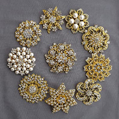 a0afd5628 Amazon.com: 10 Rhinestone Brooch Gold X LARGE Pearl Crystal Wedding Bridal  Brooch Bouquet Invitation Cake Decoration Napkin Ring BR118: Jewelry