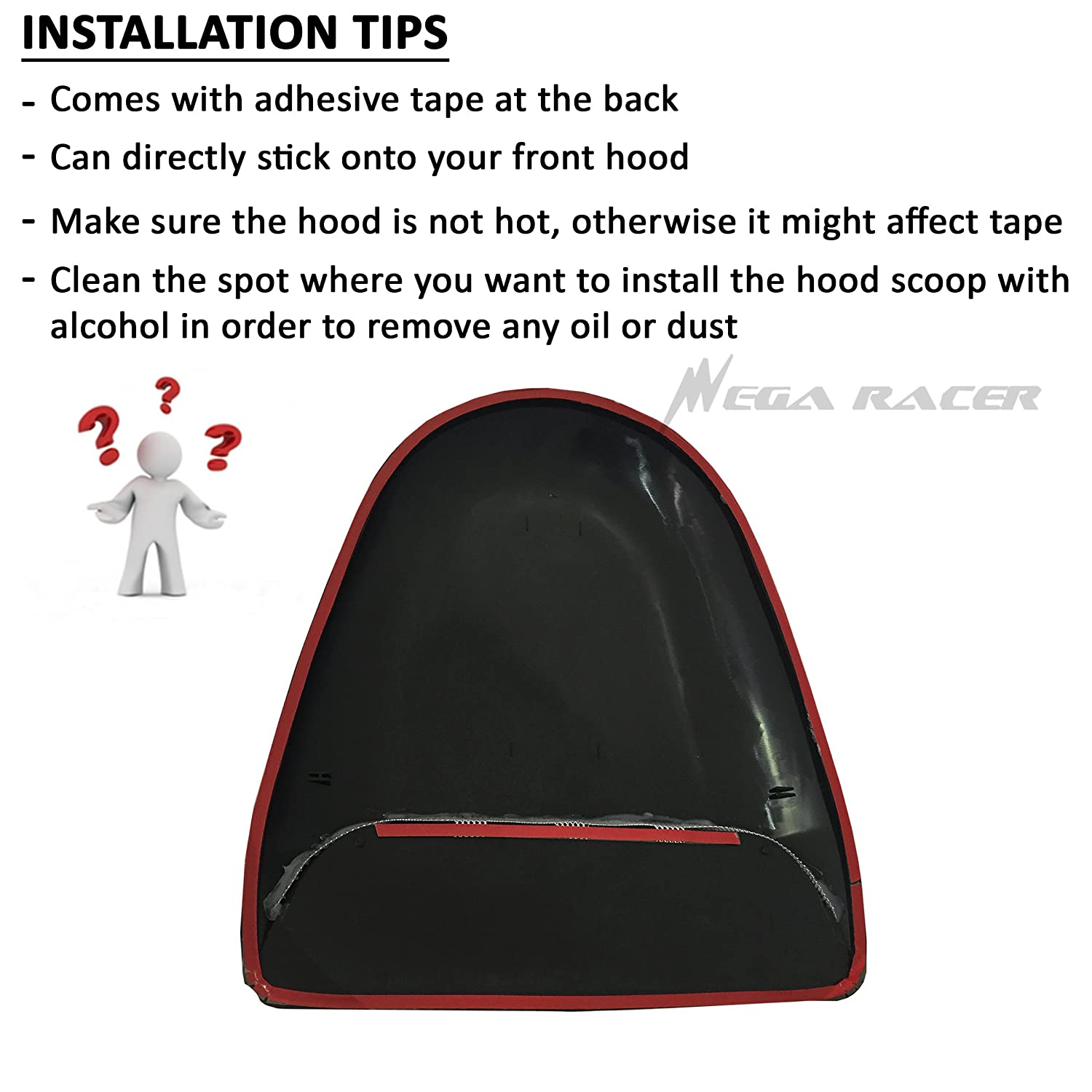 Universal JDM Style Decorative Hood Scoop Smoke Black Sport Racing Air Flow Intake Vent Cover Paintable Auto USA Seller