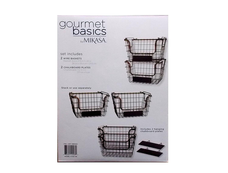 Amazon.com: Mikasa Gourmet Basics Wire Storage Basket 2 Pack With ...