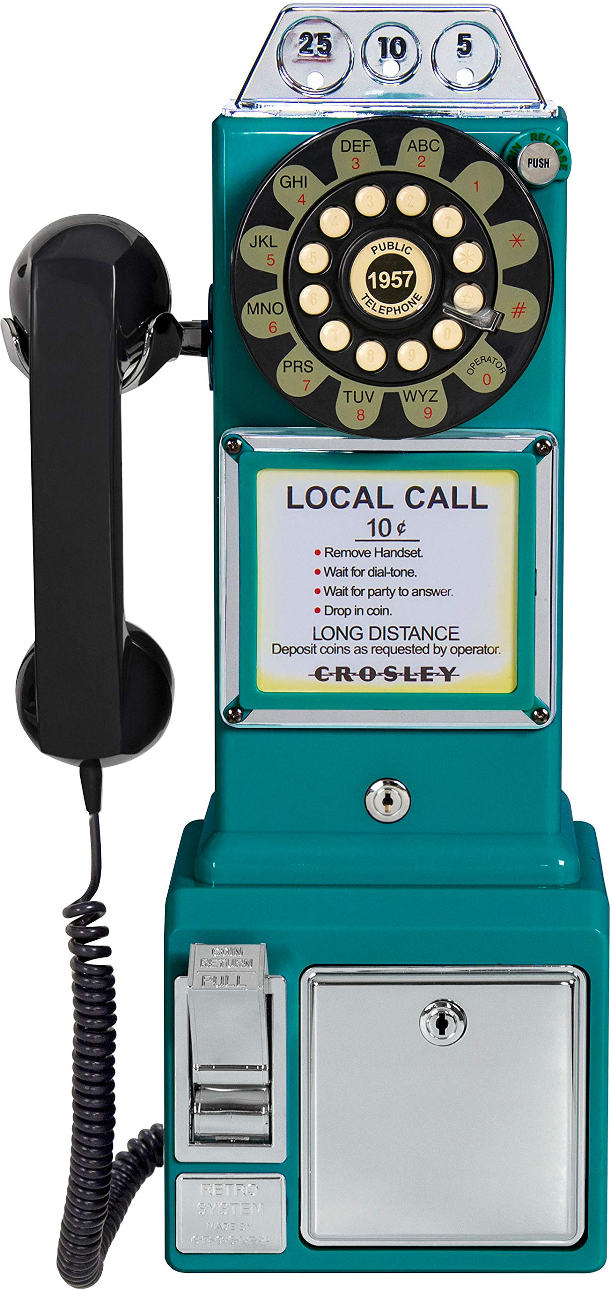 Crosley CR56-TL 1950's Payphone with Push Button Technology, Teal by Crosley (Image #2)