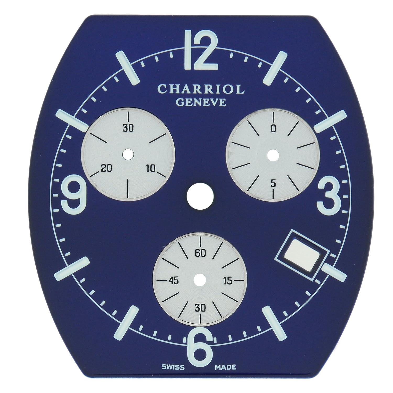 Philippe Charriol 27 x 28 -5 mm Navy Blau rÖmischen Chronograph Zifferblatt