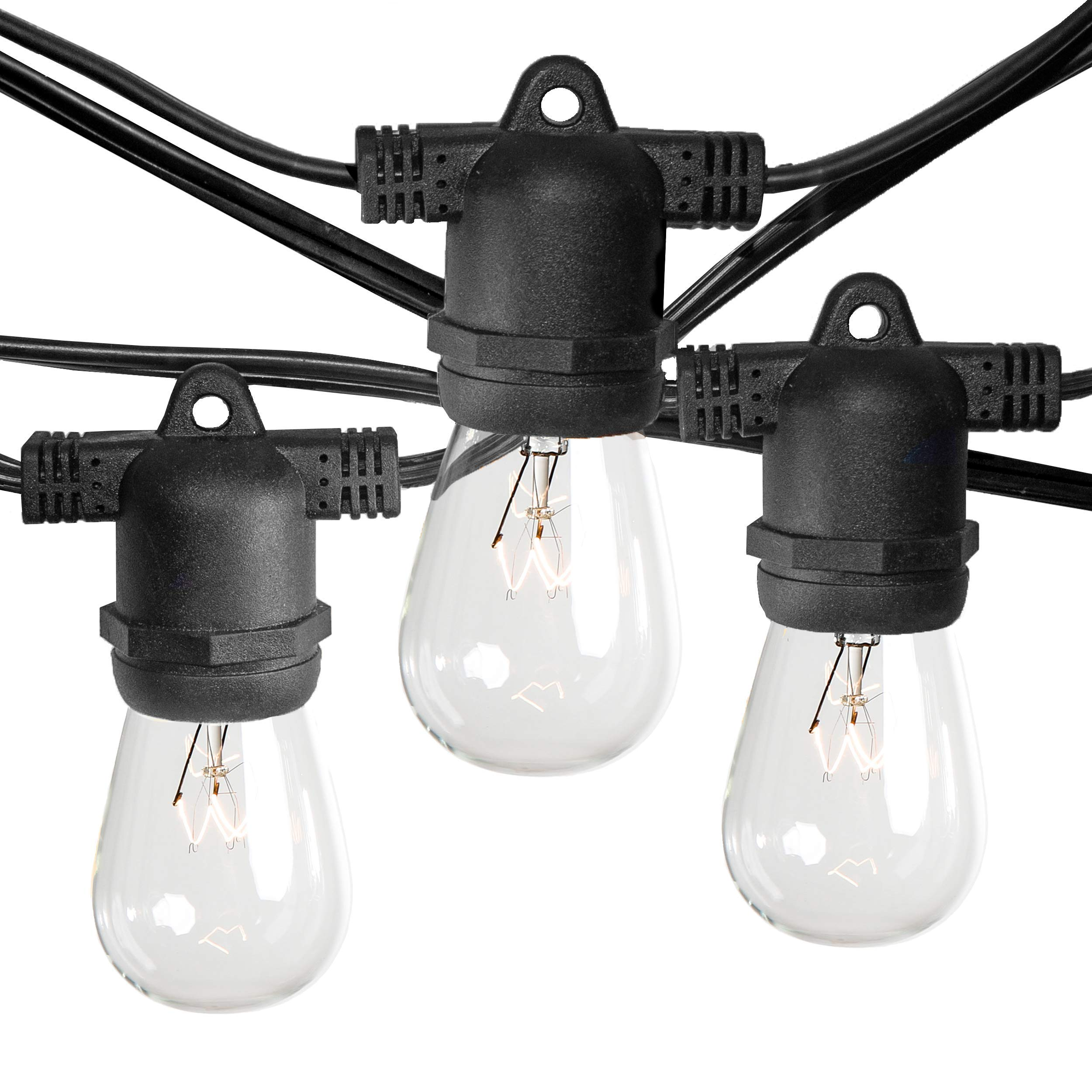 Hometown Evolution, Inc. Commercial E26 String Lights with 16 Gauge Wire (24 Foot 12 Socket, S14 11 Watt Clear Bulbs)